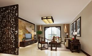 Chinese-living-room-wooden-partition-and-TV-wall