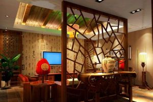 Wood-partition-living-room-interior-design-Chinese-style